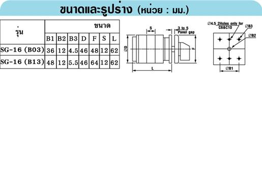 SANGI SG16-4-3/61325-B13 สวิทช์หมุนเลือกโวลท์-กระแส