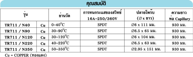 PRODIGY TR711/N series · เทอร์โมสตาท